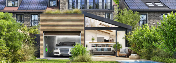 Modern house with rooftop solar panels and electric car